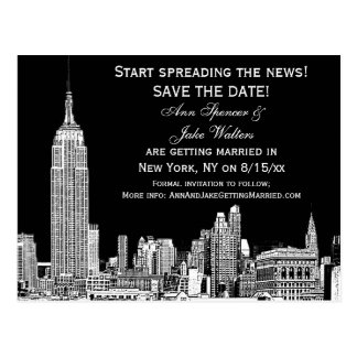 NYC Skyline 01 Etched DIY BG Color Save the Date Postcard
