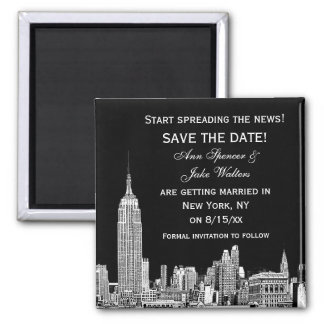 NYC Skyline 01 Etched DIY BG Color Save the Date Square Magnet