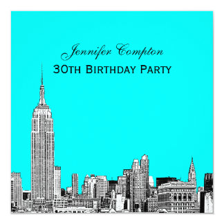 NYC Skyline 01 Etched DIY BG Color SQ Birthday Pty Card