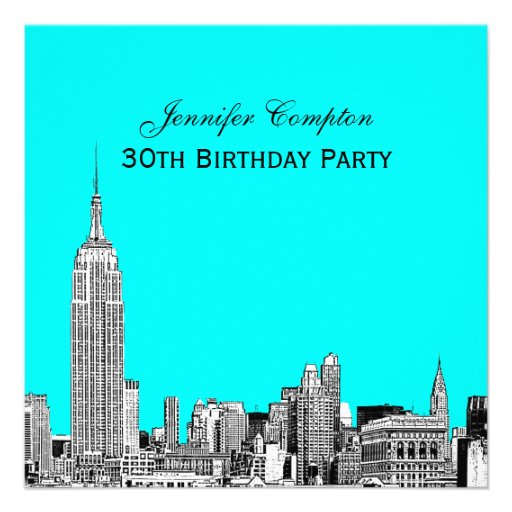 NYC Skyline 01 Etched DIY BG Color SQ Birthday Pty Invitations