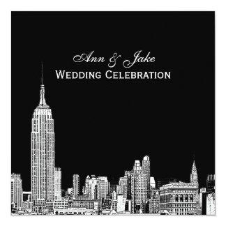 NYC Skyline 01 Etched DIY BG Color SQ Wedding 13 Cm X 13 Cm Square Invitation Card