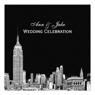NYC Skyline 01 Etched DIY BG Color SQ Wedding Personalized Invitations