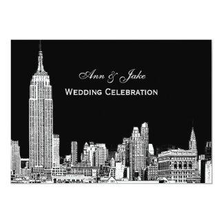 NYC Skyline 01 Etched DIY BG Color Wedding Invite