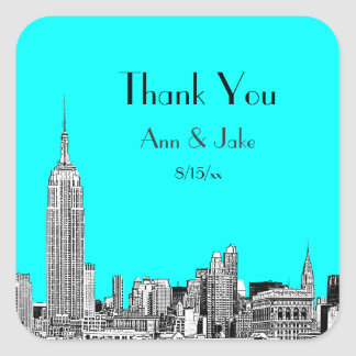 NYC Skyline 01 Etched DIY BG  Favor Tag Thank You Square Sticker