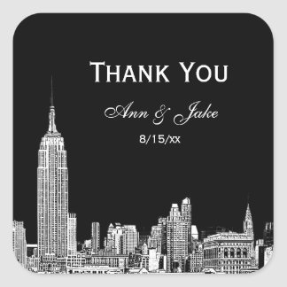 NYC Skyline 01 Etched DIY BG  Favor Tag Thank You Square Stickers