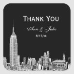 NYC Skyline 01 Etched DIY BG  Favour Tag Thank You Square Sticker