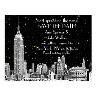NYC Skyline 01 Etched DIY BG Starry Save the Date Postcard