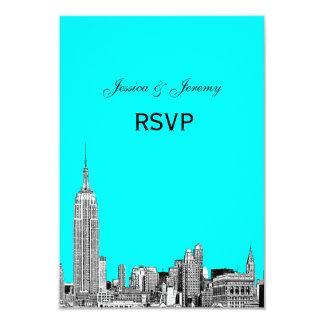 NYC Skyline 01 Etched RSVP #1 9 Cm X 13 Cm Invitation Card