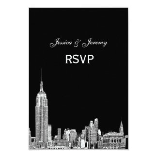 NYC Skyline 01 Etched RSVP #2 9 Cm X 13 Cm Invitation Card