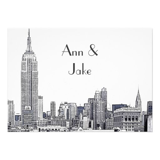 NYC Skyline 01 Etched Wedding Invite 2