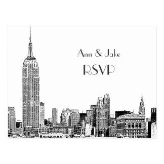 NYC Skyline 01 Etched White RSVP 1 Postcard