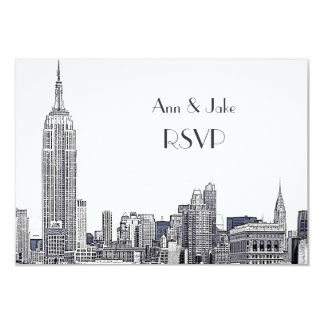 NYC Skyline 01 Etched White RSVP #2 9 Cm X 13 Cm Invitation Card