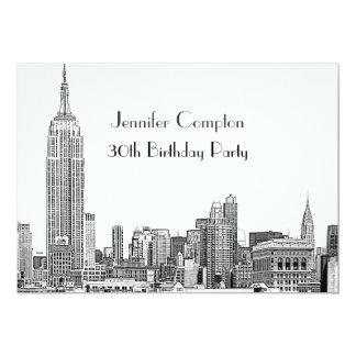 NYC Skyline 01 Etched Wht Birthday Party 13 Cm X 18 Cm Invitation Card