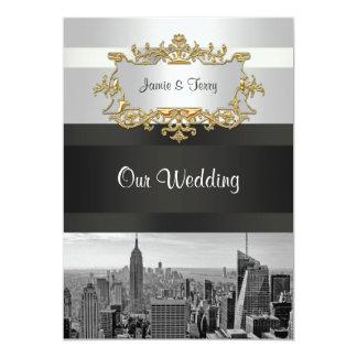 NYC Skyline 05: White, Black Wedding Invite