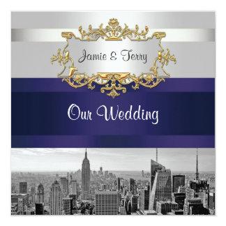 NYC Skyline 05: White, Navy Blue Wedding Invite