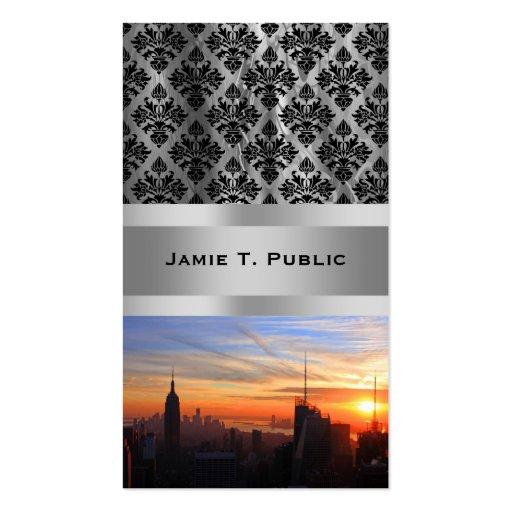 NYC skyline at sunset, Blue, Gold, Orange sky Business Card Template