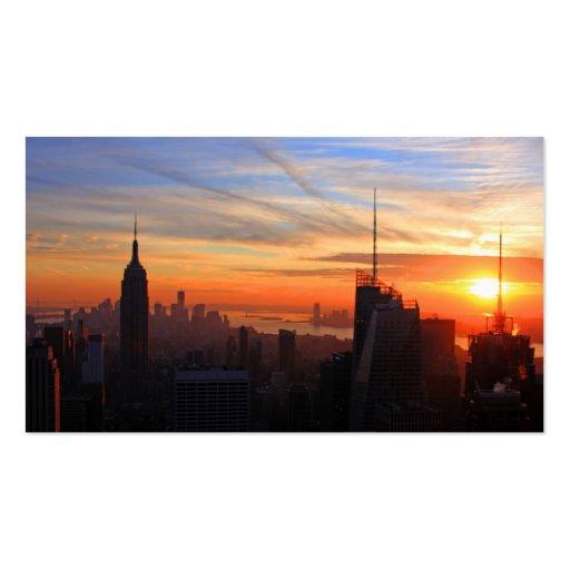 NYC skyline at sunset, Blue, Gold, Orange sky Business Card Templates
