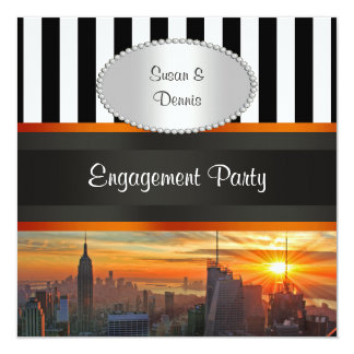 NYC Skyline at Sunset, BW Stripe Engagement Party 13 Cm X 13 Cm Square Invitation Card