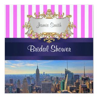 "NYC Skyline B2 Pink White Stripe Bridal Shower 5.25"" Square Invitation Card"