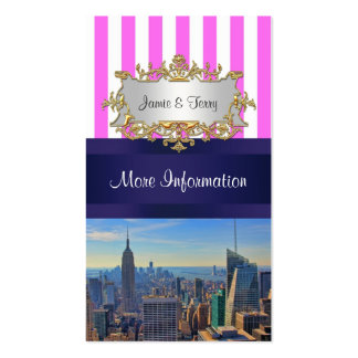 NYC Skyline B2 Pink White Stripe Event Info Card Business Card