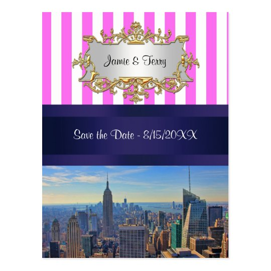 NYC Skyline B2 Pink White Stripe Save the Date Postcard