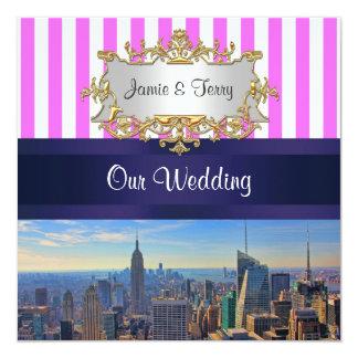 NYC Skyline B2 Pink White Stripe Wedding Invite