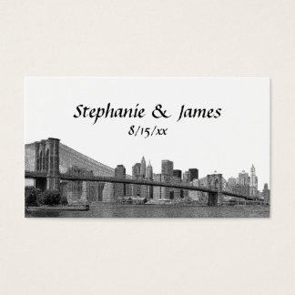 NYC Skyline Bklyn Bridge Etched Escort Cards