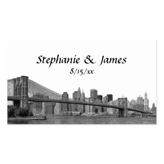 NYC Skyline Bklyn Bridge Etched Escort Cards Pack Of Standard Business Cards