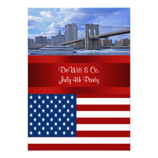 NYC Skyline Bklyn Bridge USA Flag Red W Blue Party Personalized Invite