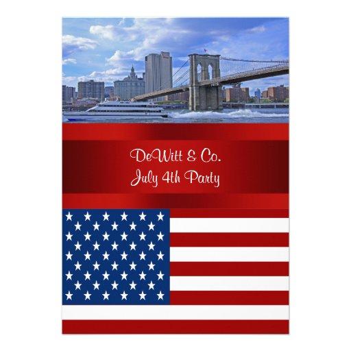 NYC Skyline Bklyn Bridge USA Flag Red W Blue Party Personalized Invite