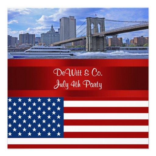 NYC Skyline Bklyn Bridge USA Flag Red W Blue Party Invites
