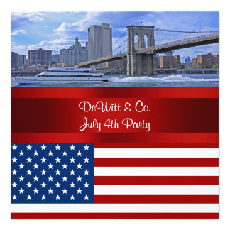"NYC Skyline Bklyn Bridge USA Flag Red W Blue Party 5.25"" Square Invitation Card"