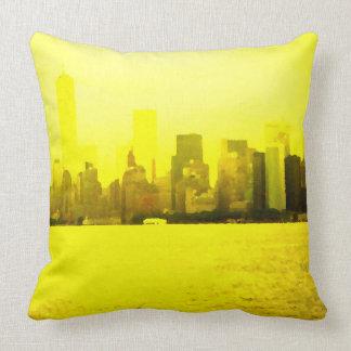 NYC Skyline Bright Yellow Pillow Urban Decor Color