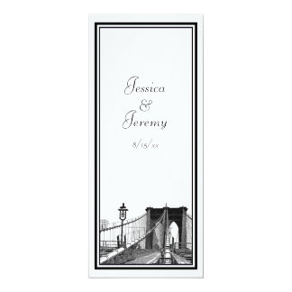 NYC Skyline Brooklyn Bridge #2 DIY Menu Reception 10 Cm X 24 Cm Invitation Card