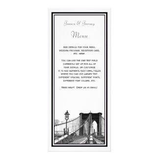 NYC Skyline Brooklyn Bridge 2 DIY Menu Reception Personalized Invites