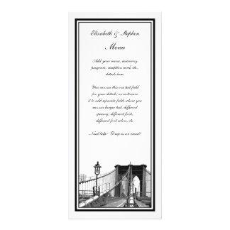 NYC Skyline Brooklyn Bridge #2 Etched Framed Rack Card