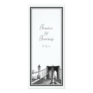 NYC Skyline Brooklyn Bridge #2 Menu Reception 4x9.25 Paper Invitation Card