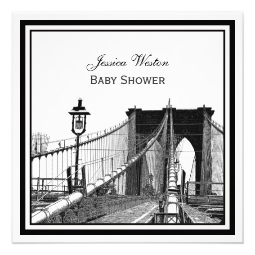 NYC Skyline Brooklyn Bridge #2 SQ Baby Shower Personalized Announcement