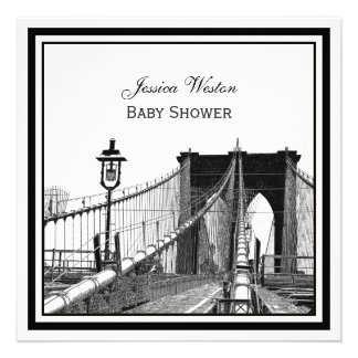NYC Skyline Brooklyn Bridge 2 SQ Baby Shower Personalized Announcement