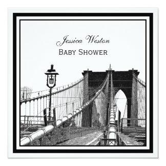 NYC Skyline Brooklyn Bridge #2 SQ Baby Shower Personalized Announcement
