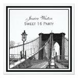 NYC Skyline Brooklyn Bridge #2 SQ Sweet 16 Party 13 Cm X 13 Cm Square Invitation Card