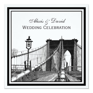NYC Skyline Brooklyn Bridge #2 SQ Wedding Card