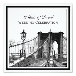 NYC Skyline Brooklyn Bridge #2 SQ Wedding Card