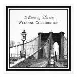 NYC Skyline Brooklyn Bridge #2 SQ Wedding Custom Announcements