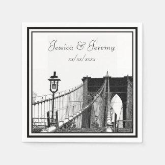 NYC Skyline Brooklyn Bridge #2 Wedding Paper Napkin