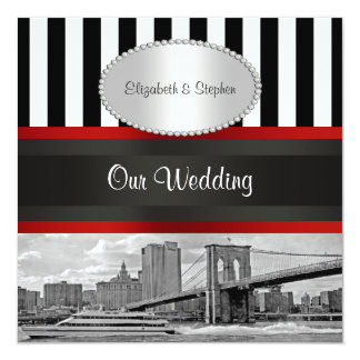 NYC Skyline Brooklyn Bridge Blk White P2 Wedding Card