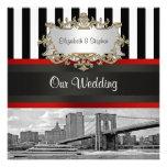 NYC Skyline Brooklyn Bridge Blk White Wedding Personalised Announcements