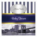 NYC Skyline Brooklyn Bridge Blue White Baby Shower Personalised Invite