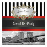 NYC Skyline Brooklyn Bridge Boat 2 Sweet 16 Invite