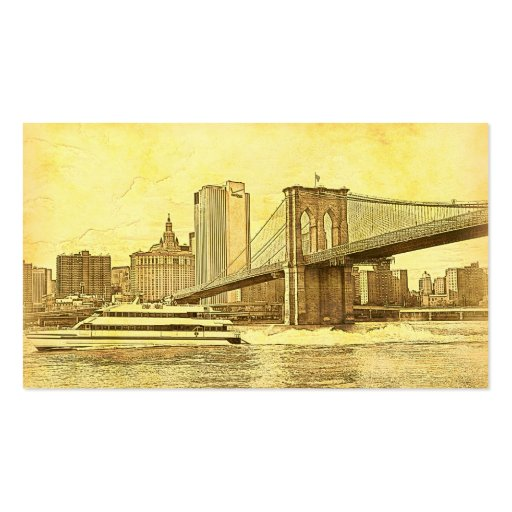 NYC Skyline Brooklyn Bridge Boat Etched Look #1 Business Card Template